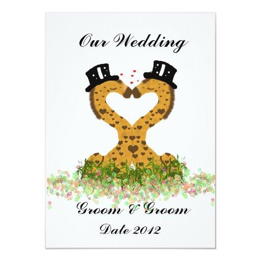 Invitación gay linda del boda de dos jirafas de