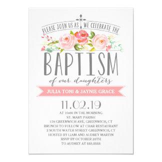 Invitación gemela color de rosa del bautismo de