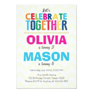 Invitación gemela común de la fiesta de cumpleaños