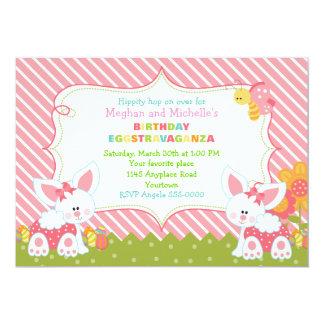 Invitación gemela del cumpleaños de Pascua de los Invitación 12,7 X 17,8 Cm