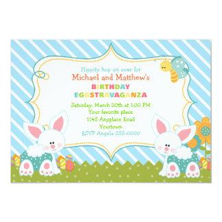 Invitación gemela del cumpleaños de Pascua de los