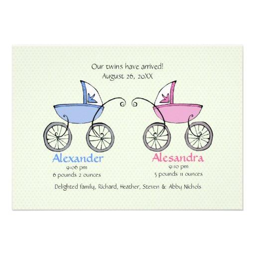 Invitación gemela del nacimiento del bebé de los c