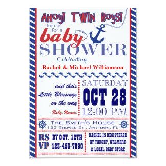 Invitación gemela náutica de la ducha del bebé