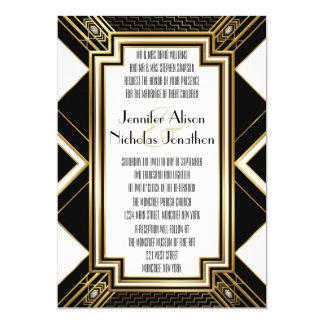 Invitación geométrica del boda del art déco