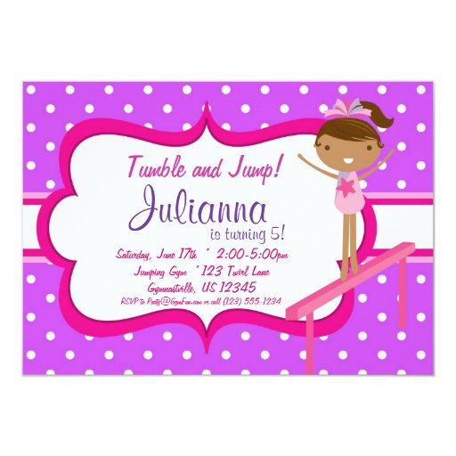Invitación gimnástica rosada púrpura de la fiesta