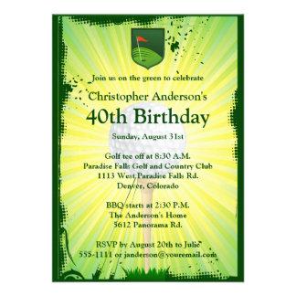 Invitación Golfing del cumpleaños del golf del gol