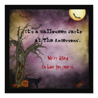 Invitación gótica de Halloween del cielo nocturno