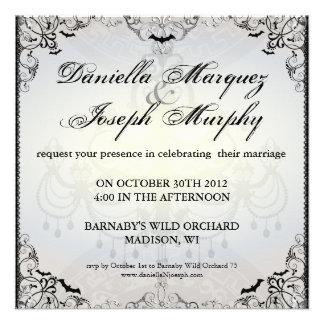 Invitación gótica de lujo del boda de Halloween de