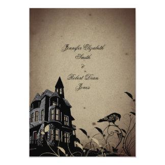 Invitación gótica del boda de la casa del vintage