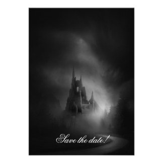 Invitación gótica del boda del castillo