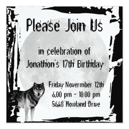 Invitación gótica del cumpleaños del lobo y de la