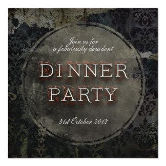 Invitación gótica negra del fiesta de cena del
