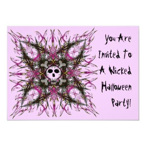 Invitación gótica rosada del fractal del cráneo