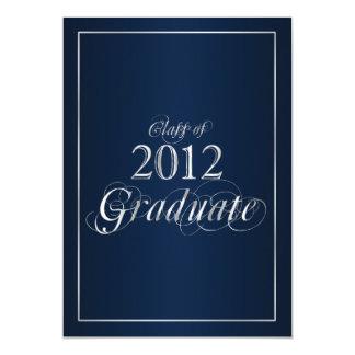Invitación graduada azul y de la plata con clase