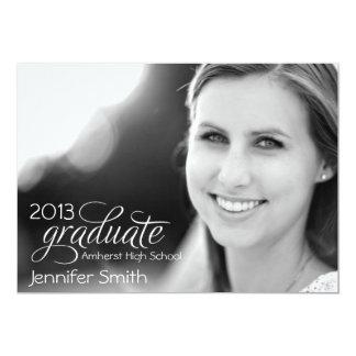 Invitación graduada de la foto - con damasco negro