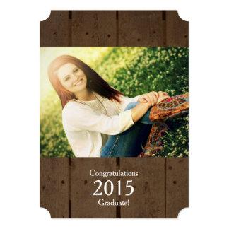Invitación graduada de la foto de madera 2015 invitación 12,7 x 17,8 cm