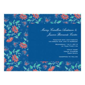 Invitación grande 1 del boda del batik floral de A