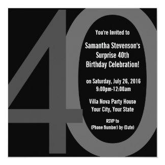 Invitación grande cuadrada negra/gris de la fiesta