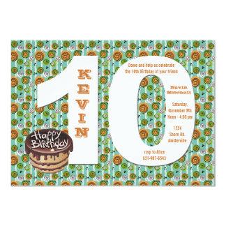 Invitación grande de la fiesta de cumpleaños 10 invitación 12,7 x 17,8 cm