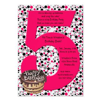 Invitación grande de la fiesta de cumpleaños 5 invitación 12,7 x 17,8 cm