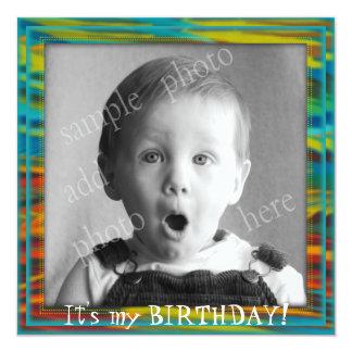 Invitación grande de la fiesta del cumpleaños de invitación 13,3 cm x 13,3cm
