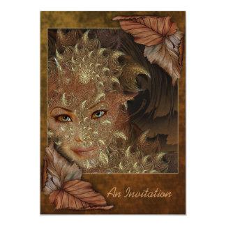 Invitación grande de la ninfa de madera del otoño invitación 12,7 x 17,8 cm