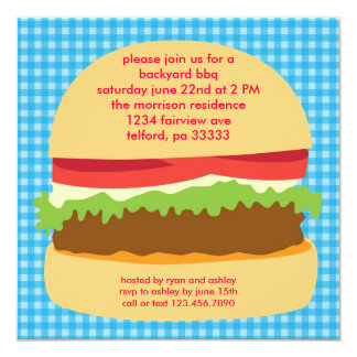 Invitación grande del Bbq de la hamburguesa
