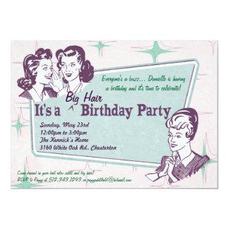 Invitación grande del cumpleaños del pelo del
