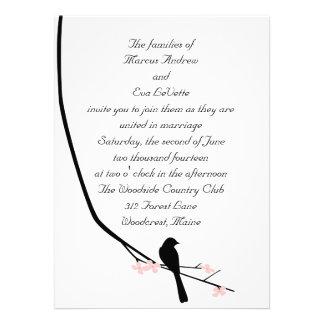 Invitación grande del pájaro y del flor