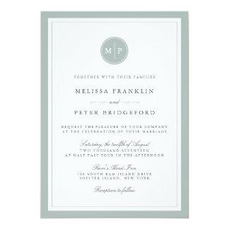 Invitación Grayed del boda del monograma del jade