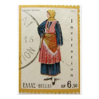 Invitación griega del sello del vintage