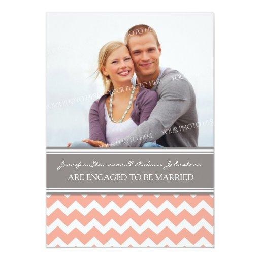 Invitación gris coralina del compromiso de la foto