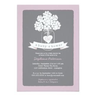 Invitación gris de la fiesta de bienvenida al bebé invitación 12,7 x 17,8 cm