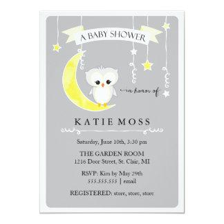 Invitación gris de la fiesta de bienvenida al bebé