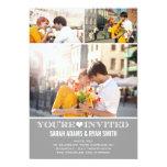Invitación gris de la foto del boda tres del