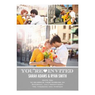Invitación gris de la foto del boda tres del coraz