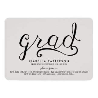 Invitación gris de la graduación del graduado de