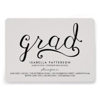 Invitación gris de la graduación del graduado de m