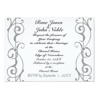 Invitación (gris) de marfil del boda de la