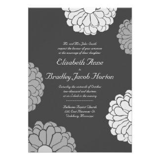 Invitación gris del boda de la flor del Zinnia