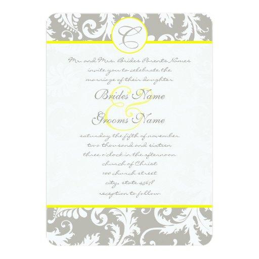 Invitación gris del boda del amarillo del damasco