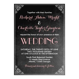 Invitación gris del boda del rosa de la pizarra invitación 12,7 x 17,8 cm