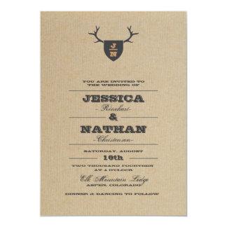 Invitación gris del boda del trofeo rústico invitación 12,7 x 17,8 cm