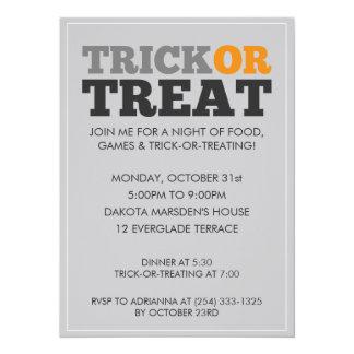 Invitación gris del fiesta de Halloween del truco