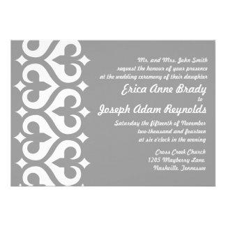 Invitación gris moderna del boda de la flor de lis