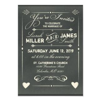 Invitación gris oscuro del boda de la pizarra con