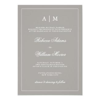 Invitación gris profunda elegante del boda