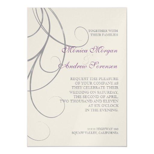 Invitación gris púrpura del boda del damasco del