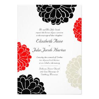 Invitación gris roja negra del boda de la flor del
