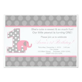 Invitación gris rosada del cumpleaños del elefante